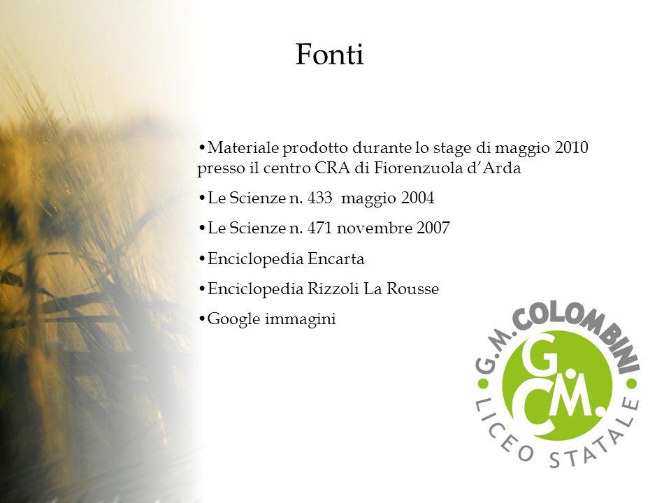 Fonti Materiale prodotto durante lo stage di maggio 2010 presso il centro CRA di Fiorenzuola dArda Le Scienze n.