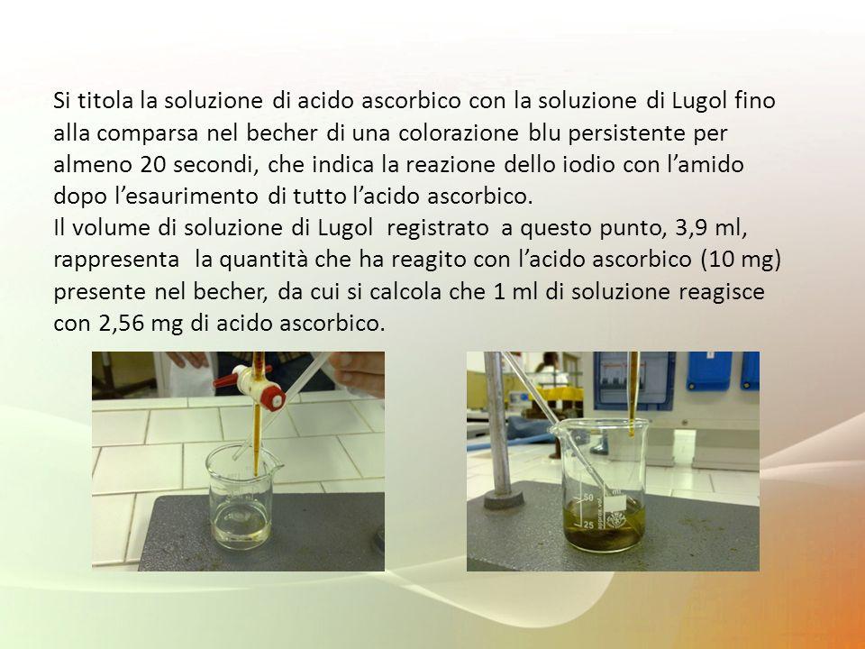 Si titola la soluzione di acido ascorbico con la soluzione di Lugol fino alla comparsa nel becher di una colorazione blu persistente per almeno 20 sec