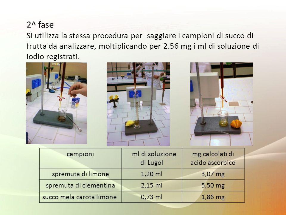 2^ fase Si utilizza la stessa procedura per saggiare i campioni di succo di frutta da analizzare, moltiplicando per 2.56 mg i ml di soluzione di iodio