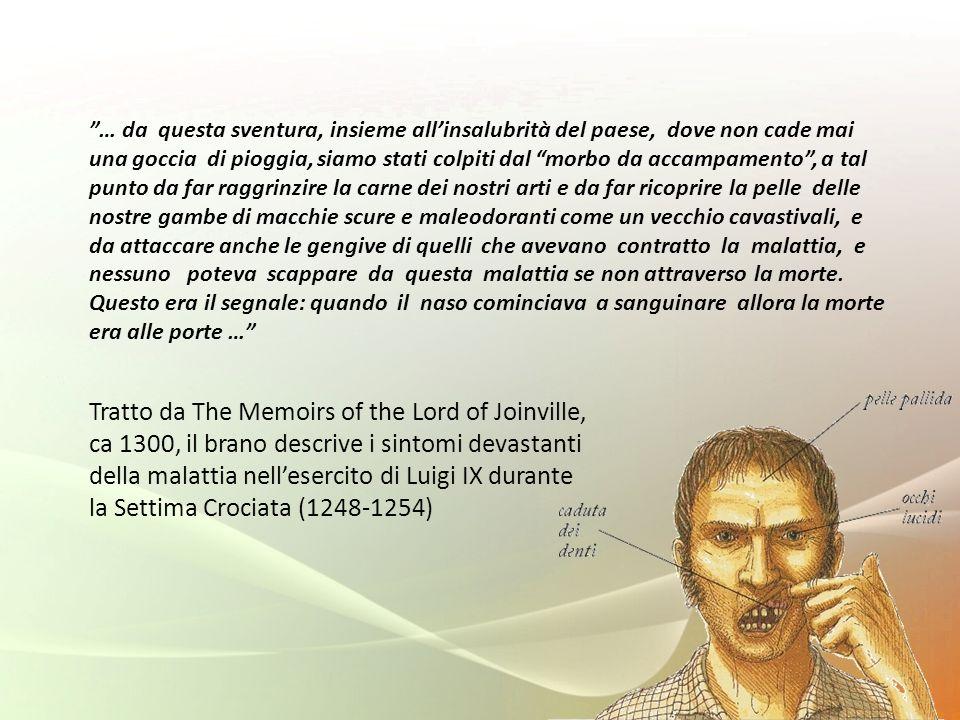 Tratto da The Memoirs of the Lord of Joinville, ca 1300, il brano descrive i sintomi devastanti della malattia nellesercito di Luigi IX durante la Set