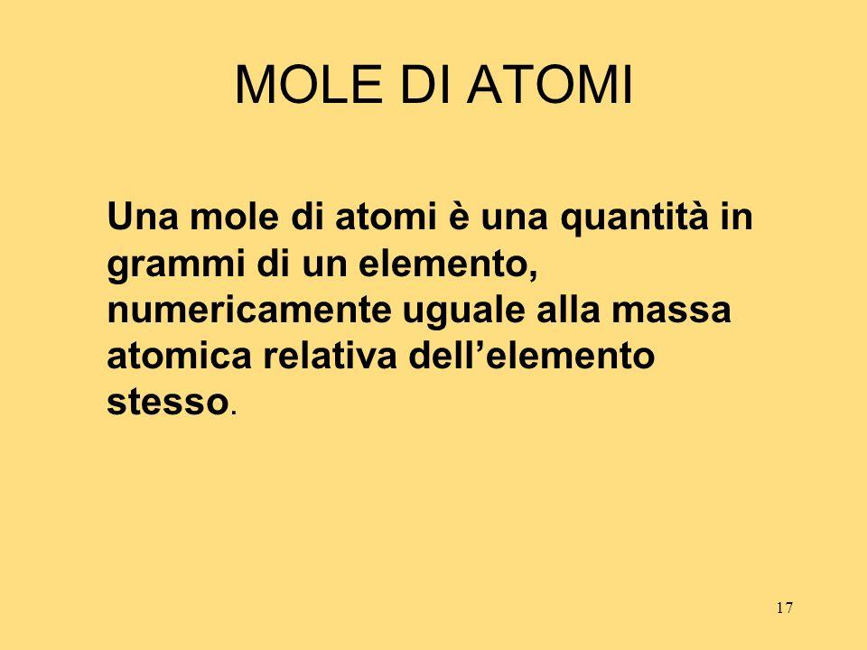 17 MOLE DI ATOMI Una mole di atomi è una quantità in grammi di un elemento, numericamente uguale alla massa atomica relativa dellelemento stesso.