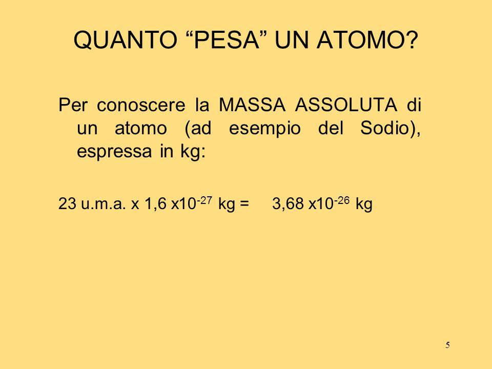 5 QUANTO PESA UN ATOMO? Per conoscere la MASSA ASSOLUTA di un atomo (ad esempio del Sodio), espressa in kg: 23 u.m.a. x 1,6 x10 -27 kg = 3,68 x10 -26