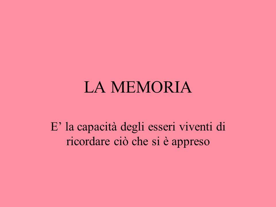 LA MEMORIA E la capacità degli esseri viventi di ricordare ciò che si è appreso