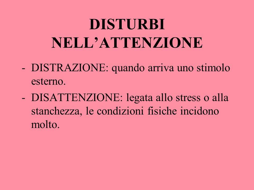DISTURBI NELLATTENZIONE -DISTRAZIONE: quando arriva uno stimolo esterno. -DISATTENZIONE: legata allo stress o alla stanchezza, le condizioni fisiche i