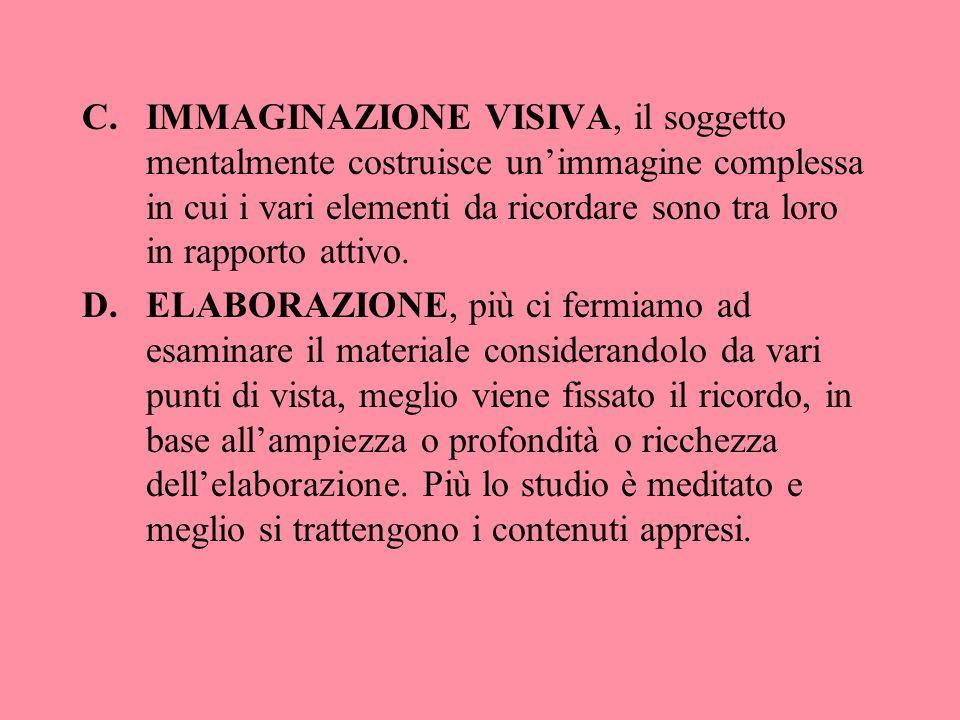C.IMMAGINAZIONE VISIVA, il soggetto mentalmente costruisce unimmagine complessa in cui i vari elementi da ricordare sono tra loro in rapporto attivo.