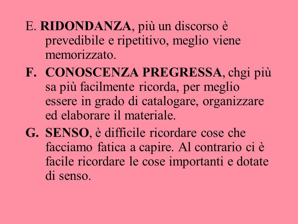 E. RIDONDANZA, più un discorso è prevedibile e ripetitivo, meglio viene memorizzato. F.CONOSCENZA PREGRESSA, chgi più sa più facilmente ricorda, per m