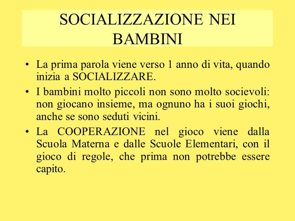 SOCIALIZZAZIONE NEI BAMBINI La prima parola viene verso 1 anno di vita, quando inizia a SOCIALIZZARE. I bambini molto piccoli non sono molto socievoli