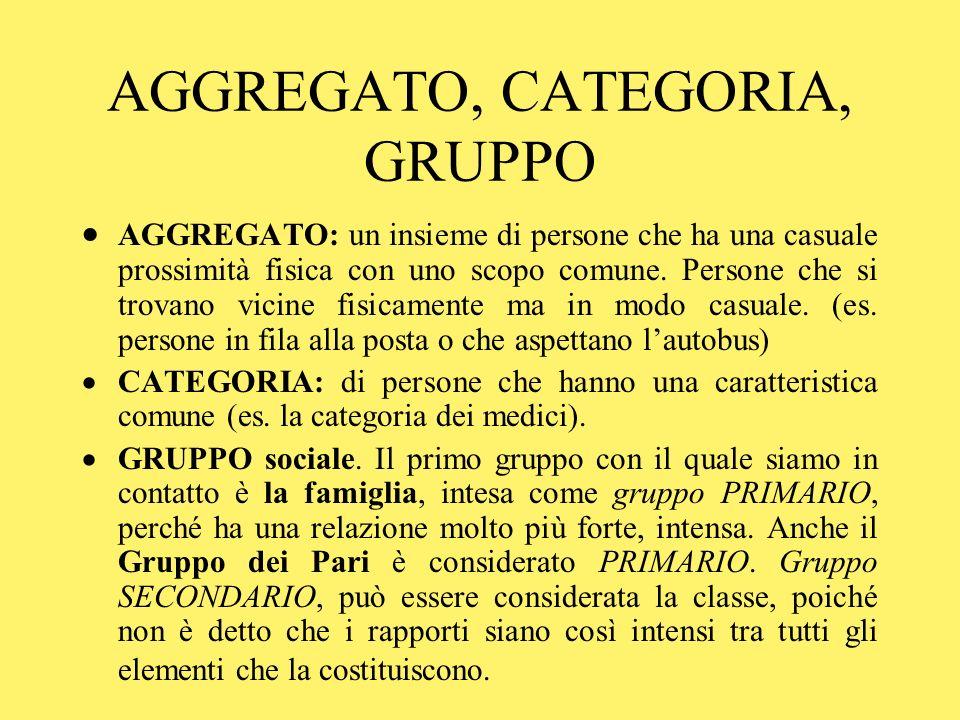 AGGREGATO, CATEGORIA, GRUPPO AGGREGATO: un insieme di persone che ha una casuale prossimità fisica con uno scopo comune.