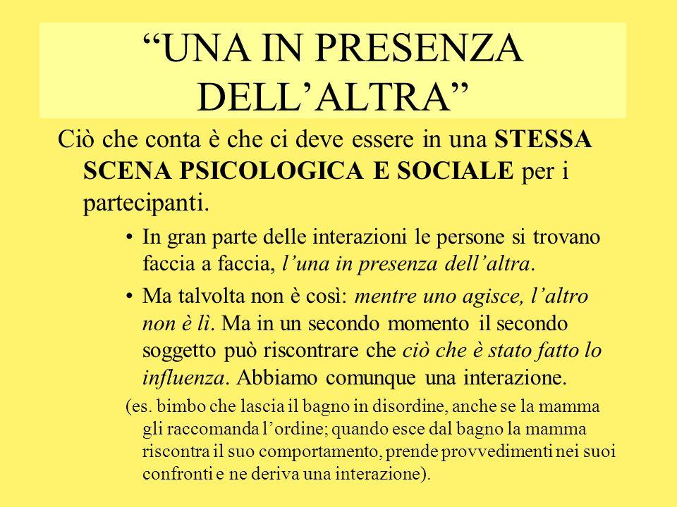 UNA IN PRESENZA DELLALTRA Ciò che conta è che ci deve essere in una STESSA SCENA PSICOLOGICA E SOCIALE per i partecipanti. In gran parte delle interaz