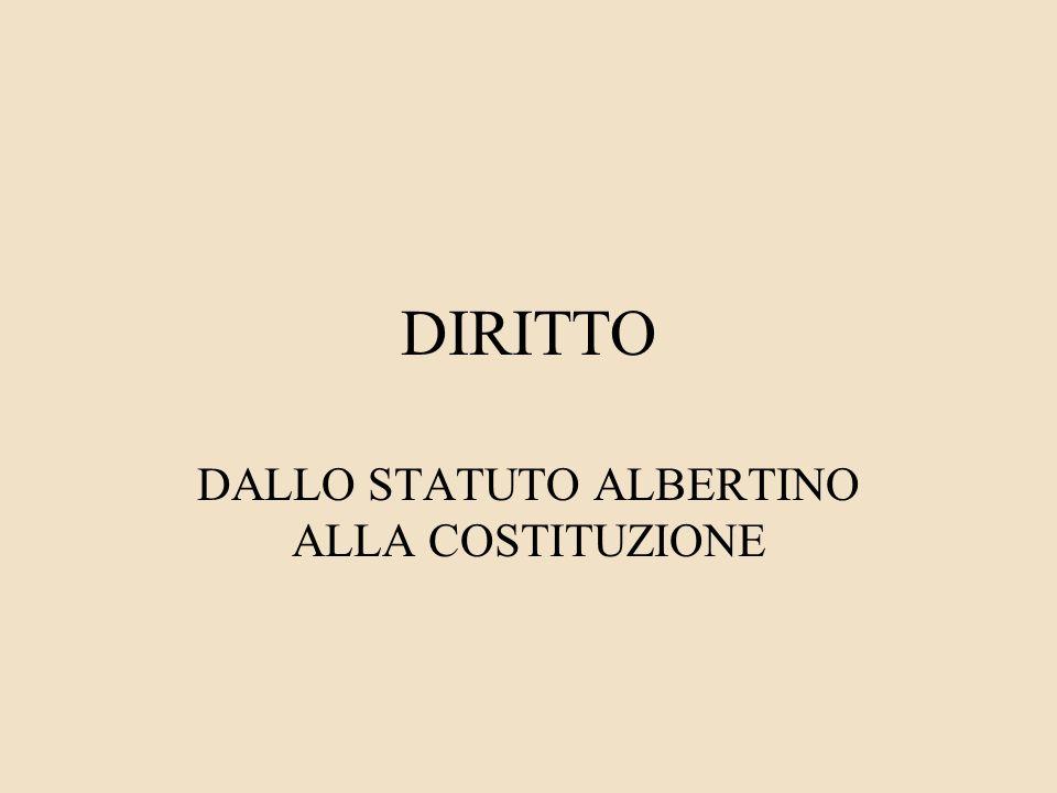 DIRITTO DALLO STATUTO ALBERTINO ALLA COSTITUZIONE