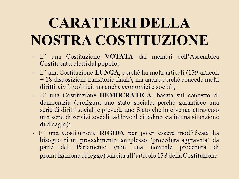 CARATTERI DELLA NOSTRA COSTITUZIONE -E una Costituzione VOTATA dai membri dellAssemblea Costituente, eletti dal popolo; -E una Costituzione LUNGA, per