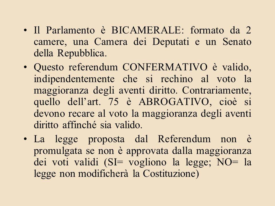 Il Parlamento è BICAMERALE: formato da 2 camere, una Camera dei Deputati e un Senato della Repubblica. Questo referendum CONFERMATIVO è valido, indipe