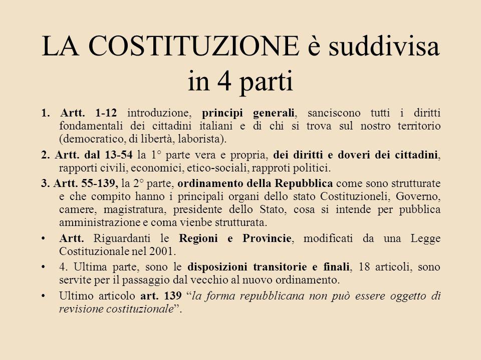 LA COSTITUZIONE è suddivisa in 4 parti 1. Artt. 1-12 introduzione, principi generali, sanciscono tutti i diritti fondamentali dei cittadini italiani e
