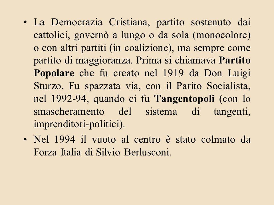 La Democrazia Cristiana, partito sostenuto dai cattolici, governò a lungo o da sola (monocolore) o con altri partiti (in coalizione), ma sempre come p