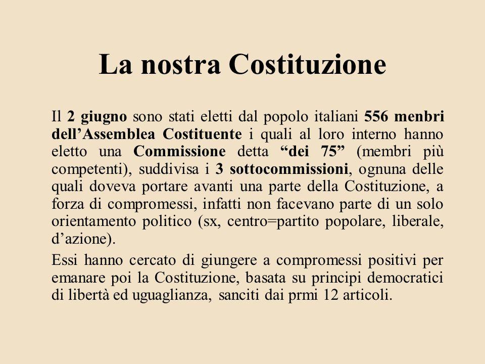 La nostra Costituzione Il 2 giugno sono stati eletti dal popolo italiani 556 menbri dellAssemblea Costituente i quali al loro interno hanno eletto una