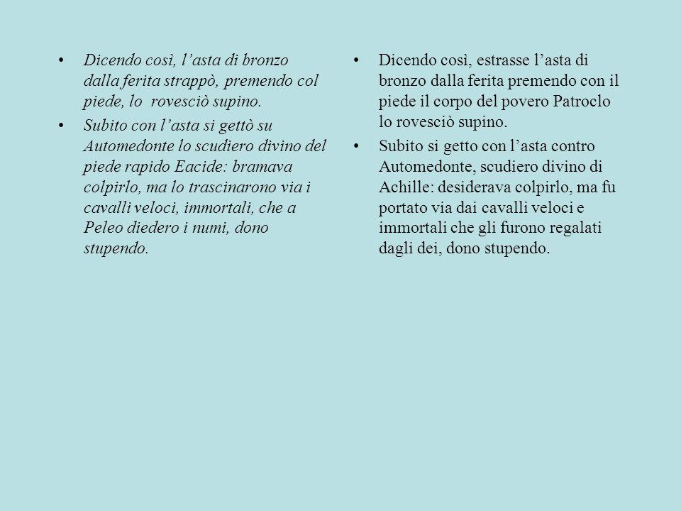 IL DOLORE DI ACHILLE E TETI Antiloco, figlio di Nestore, annuncia ad Achille la morte di Patroclo.