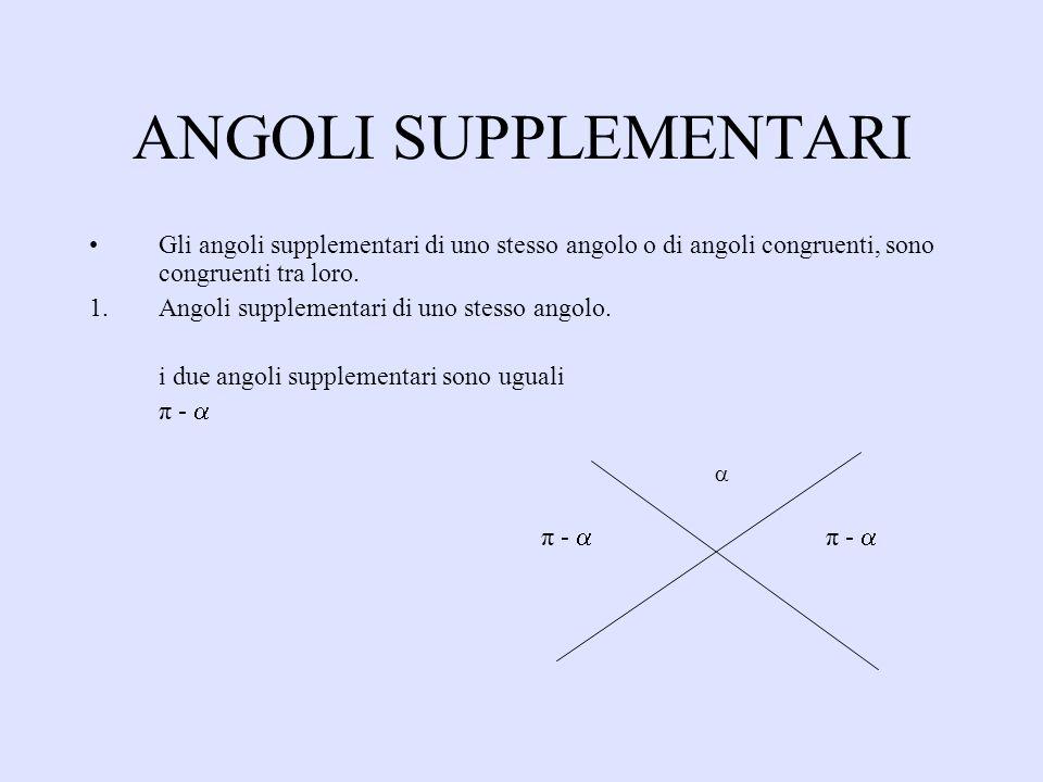 ANGOLI SUPPLEMENTARI Gli angoli supplementari di uno stesso angolo o di angoli congruenti, sono congruenti tra loro. 1.Angoli supplementari di uno ste
