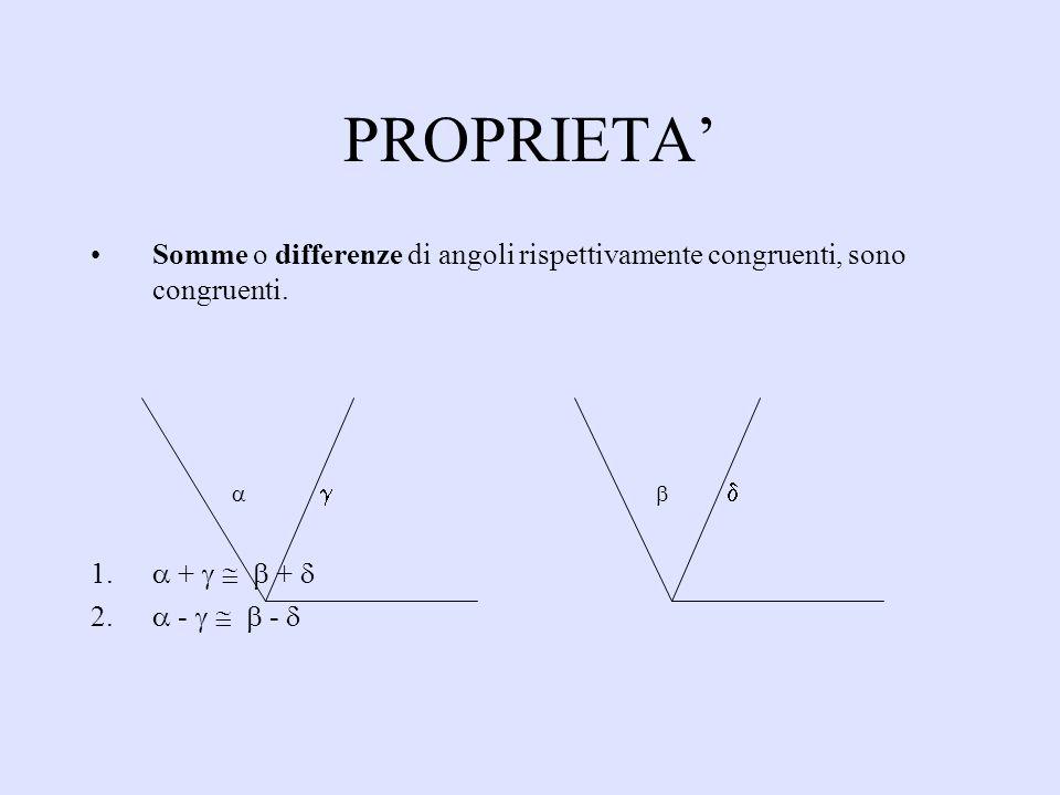 PROPRIETA Somme o differenze di angoli rispettivamente congruenti, sono congruenti. 1. + + 2. - -