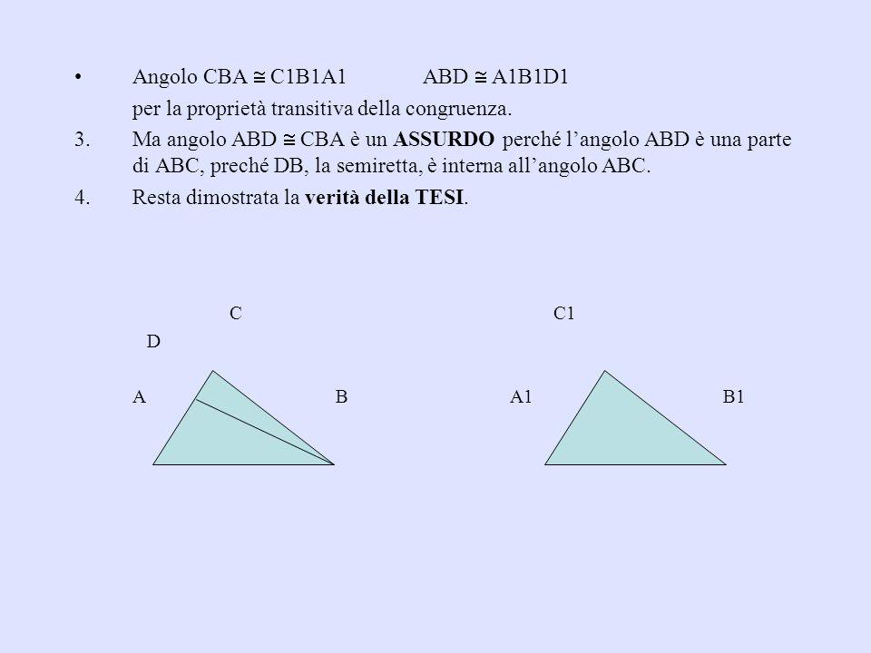 Angolo CBA C1B1A1ABD A1B1D1 per la proprietà transitiva della congruenza. 3.Ma angolo ABD CBA è un ASSURDO perché langolo ABD è una parte di ABC, prec