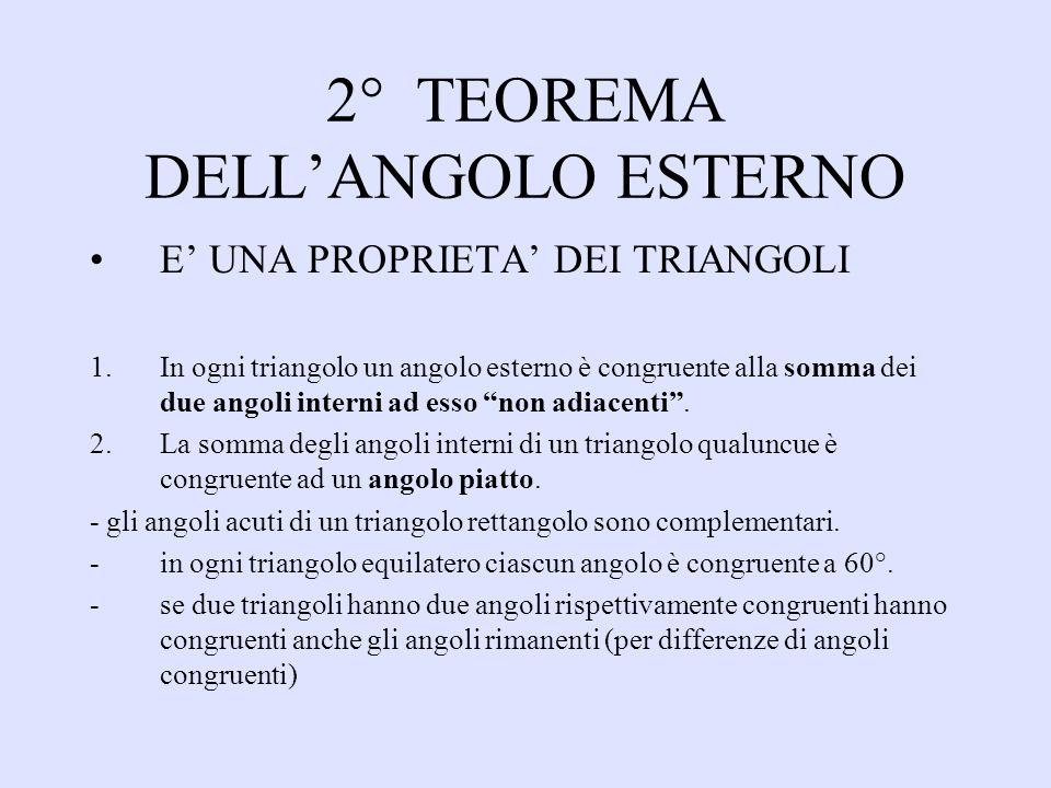 2° TEOREMA DELLANGOLO ESTERNO E UNA PROPRIETA DEI TRIANGOLI 1.In ogni triangolo un angolo esterno è congruente alla somma dei due angoli interni ad es