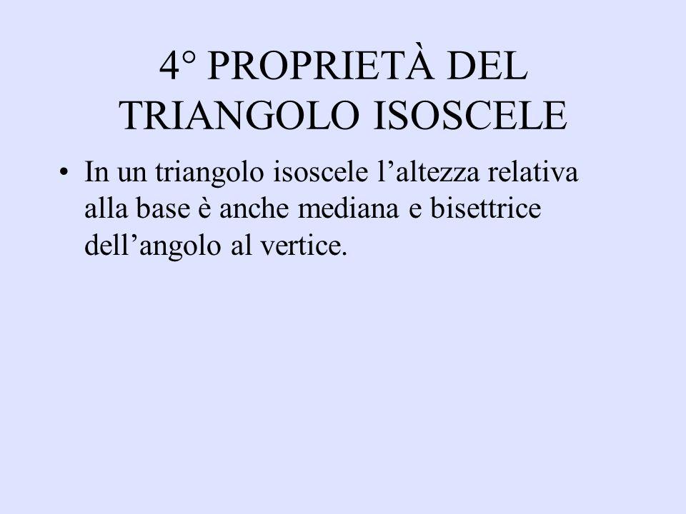 4° PROPRIETÀ DEL TRIANGOLO ISOSCELE In un triangolo isoscele laltezza relativa alla base è anche mediana e bisettrice dellangolo al vertice.