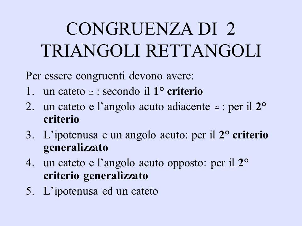CONGRUENZA DI 2 TRIANGOLI RETTANGOLI Per essere congruenti devono avere: 1.un cateto : secondo il 1° criterio 2.un cateto e langolo acuto adiacente :