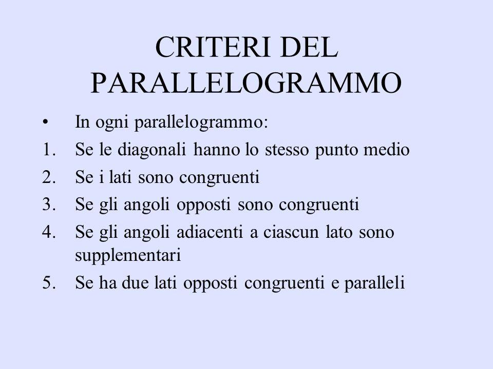 CRITERI DEL PARALLELOGRAMMO In ogni parallelogrammo: 1.Se le diagonali hanno lo stesso punto medio 2.Se i lati sono congruenti 3.Se gli angoli opposti