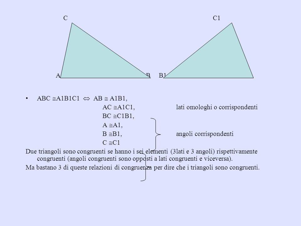 SECONDO CRITERIO DI CONGRUENZA Se due triangoli hanno rispettivamente due angoli e il lato tra loro compreso congruenti, essi sono congruenti.