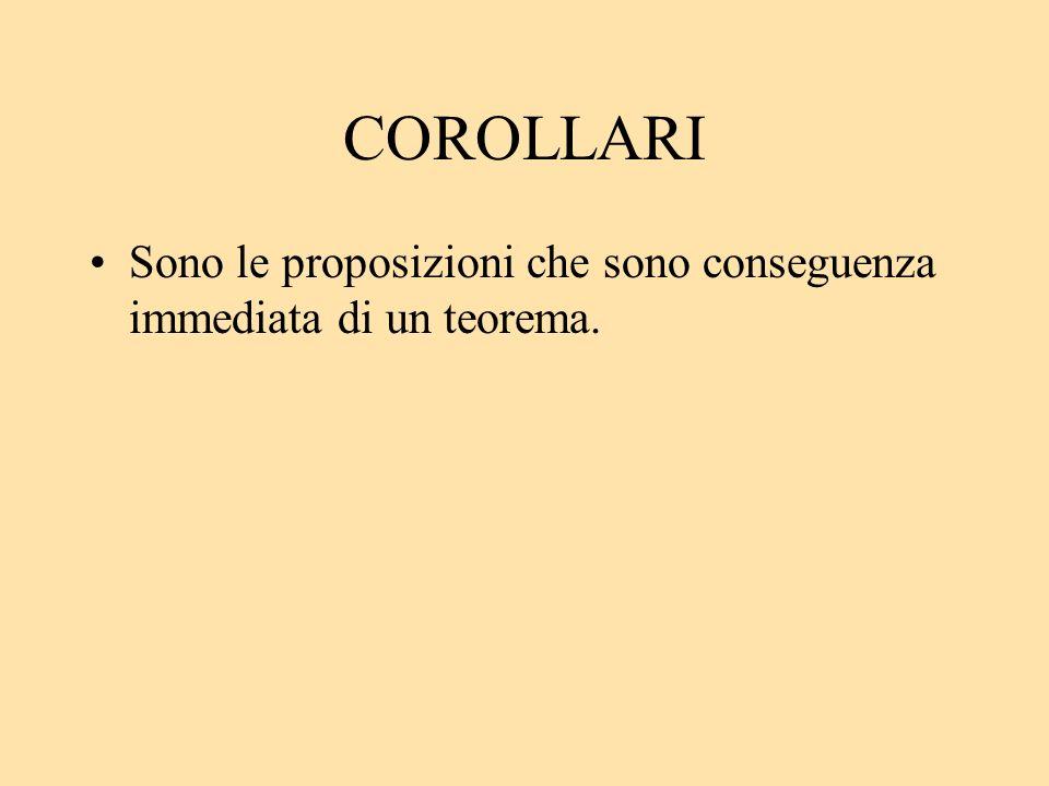 COROLLARI Sono le proposizioni che sono conseguenza immediata di un teorema.