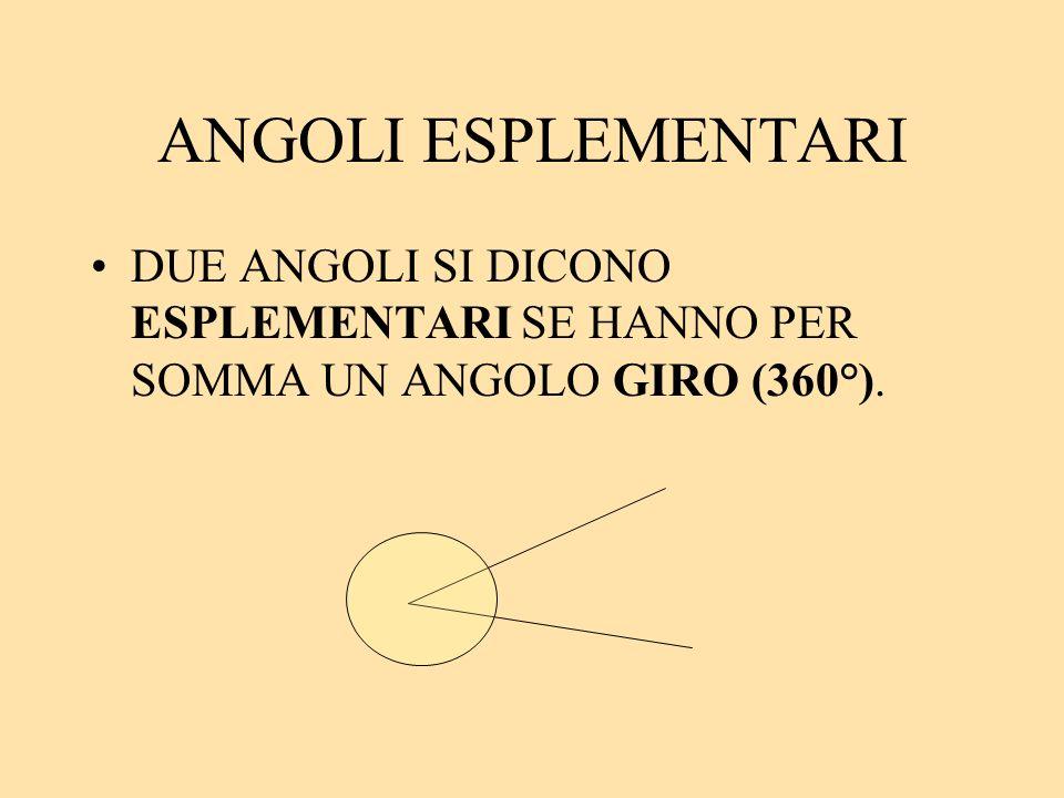 ANGOLI ESPLEMENTARI DUE ANGOLI SI DICONO ESPLEMENTARI SE HANNO PER SOMMA UN ANGOLO GIRO (360°).