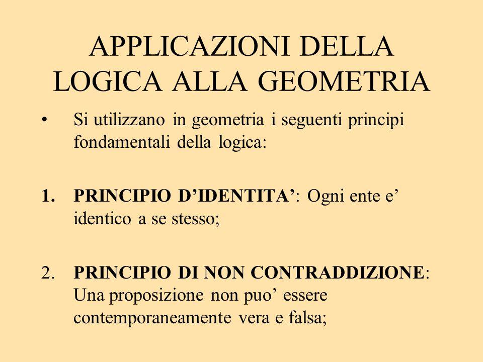 APPLICAZIONI DELLA LOGICA ALLA GEOMETRIA Si utilizzano in geometria i seguenti principi fondamentali della logica: 1.PRINCIPIO DIDENTITA: Ogni ente e