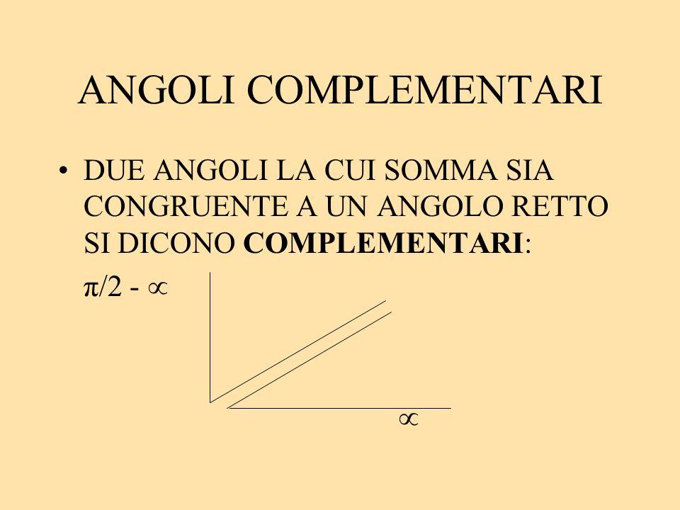 ANGOLI COMPLEMENTARI DUE ANGOLI LA CUI SOMMA SIA CONGRUENTE A UN ANGOLO RETTO SI DICONO COMPLEMENTARI: π/2 -