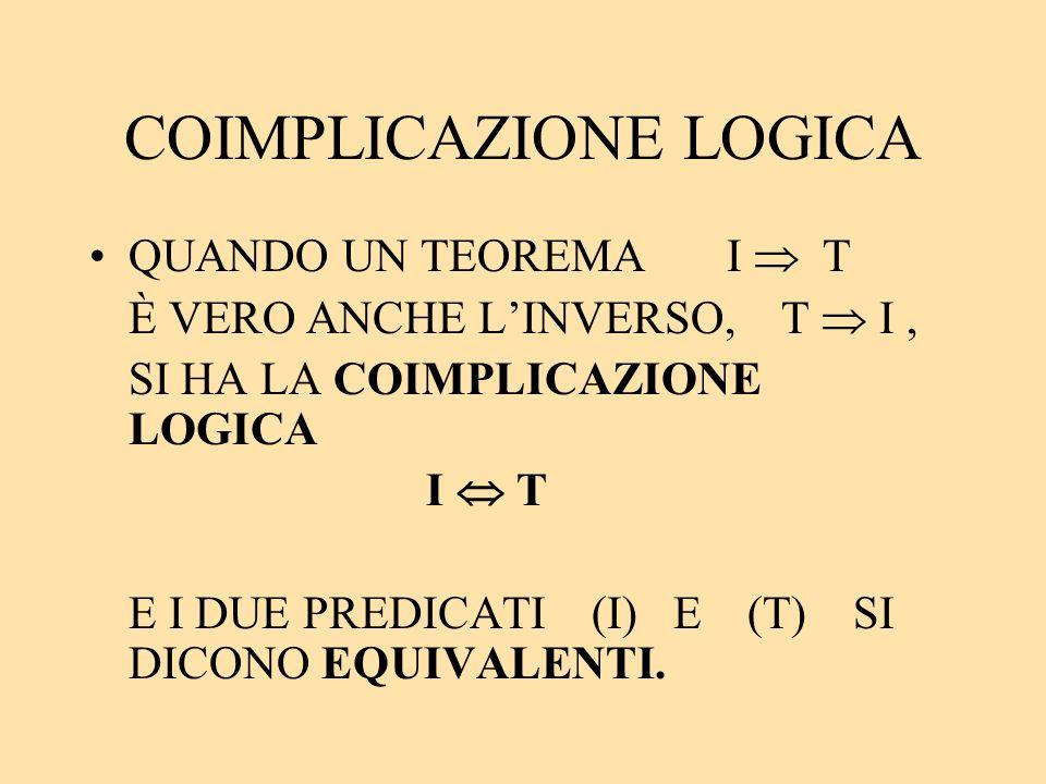 COIMPLICAZIONE LOGICA QUANDO UN TEOREMA I T È VERO ANCHE LINVERSO, T I, SI HA LA COIMPLICAZIONE LOGICA I T E I DUE PREDICATI (I) E (T) SI DICONO EQUIV