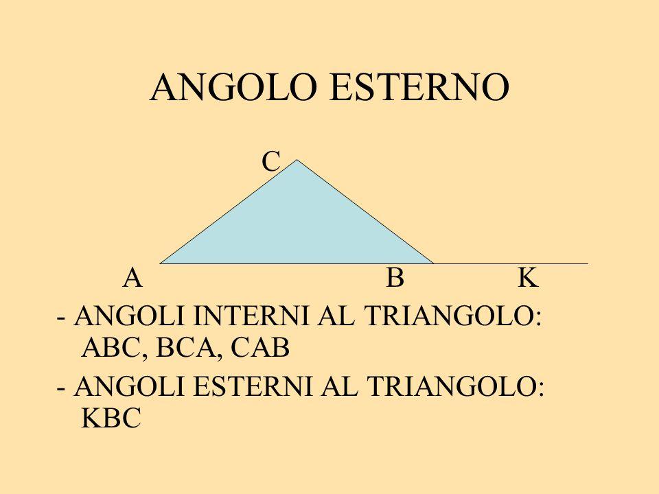ANGOLO ESTERNO C ABK - ANGOLI INTERNI AL TRIANGOLO: ABC, BCA, CAB - ANGOLI ESTERNI AL TRIANGOLO: KBC