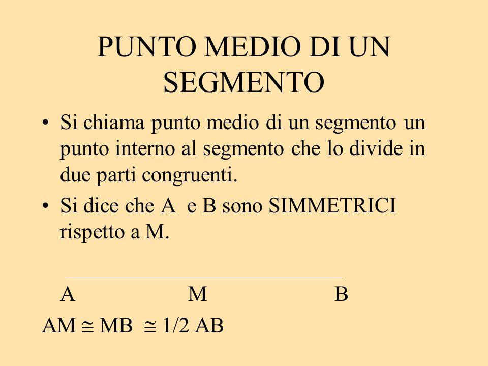 PUNTO MEDIO DI UN SEGMENTO Si chiama punto medio di un segmento un punto interno al segmento che lo divide in due parti congruenti. Si dice che A e B