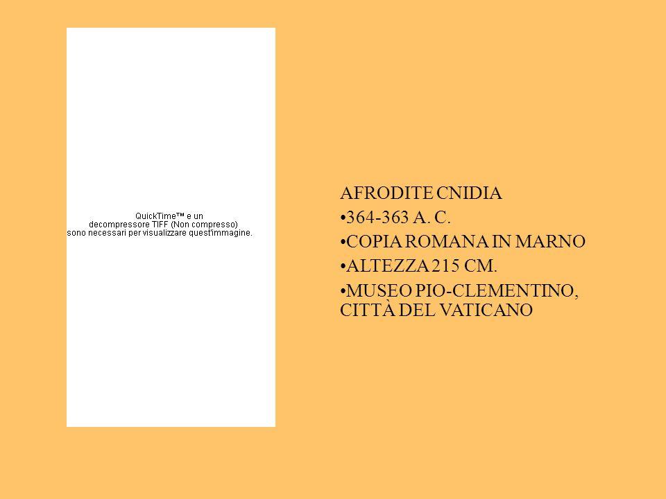AFRODITE CNIDIA 364-363 A. C. COPIA ROMANA IN MARNO ALTEZZA 215 CM. MUSEO PIO-CLEMENTINO, CITTÀ DEL VATICANO