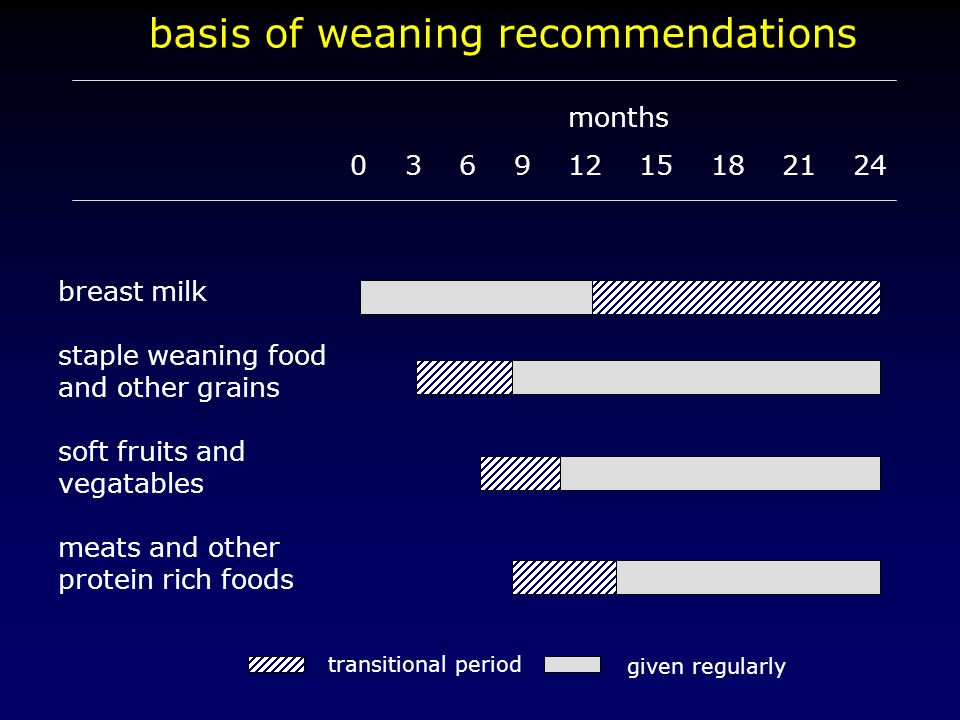 basis of weaning recommendations months 0 3 6 9 12 15 18 21 24 breast milk staple weaning food and other grains soft fruits and vegatables meats and o
