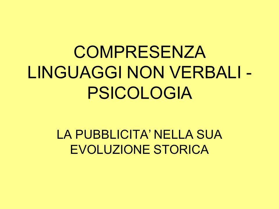 COMPRESENZA LINGUAGGI NON VERBALI - PSICOLOGIA LA PUBBLICITA NELLA SUA EVOLUZIONE STORICA