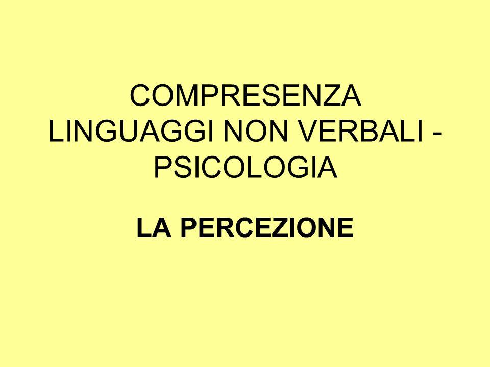 COMPRESENZA LINGUAGGI NON VERBALI - PSICOLOGIA LA PERCEZIONE