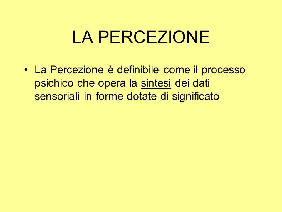 La Percezione è definibile come il processo psichico che opera la sintesi dei dati sensoriali in forme dotate di significato