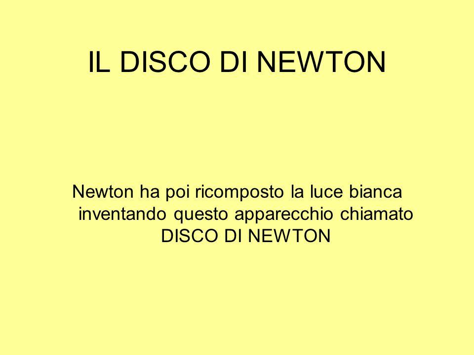 IL DISCO DI NEWTON Newton ha poi ricomposto la luce bianca inventando questo apparecchio chiamato DISCO DI NEWTON