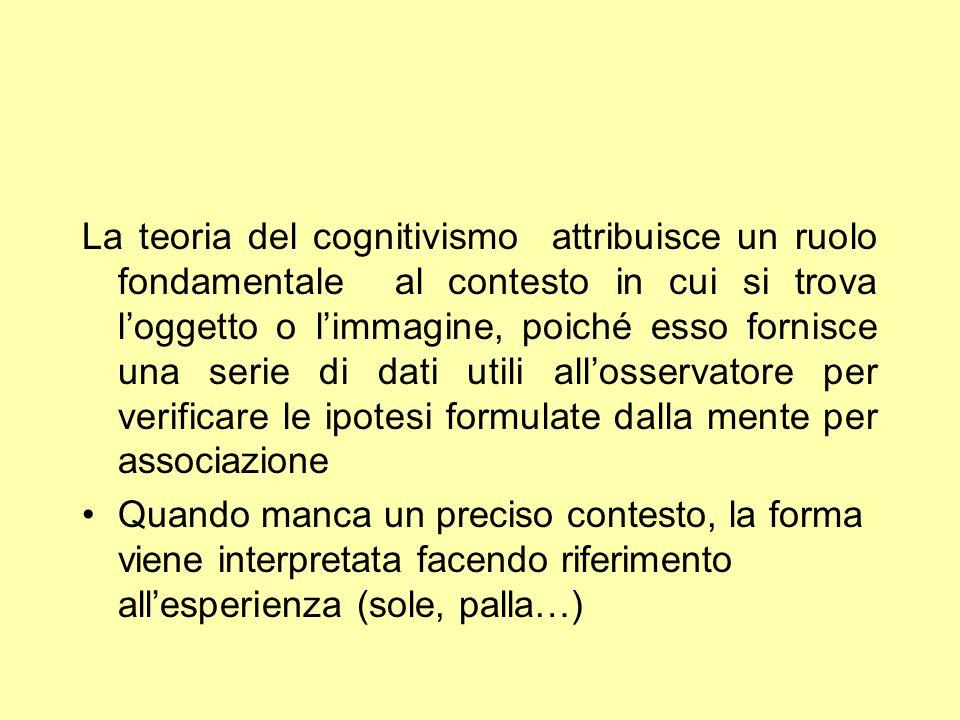 La teoria del cognitivismo attribuisce un ruolo fondamentale al contesto in cui si trova loggetto o limmagine, poiché esso fornisce una serie di dati