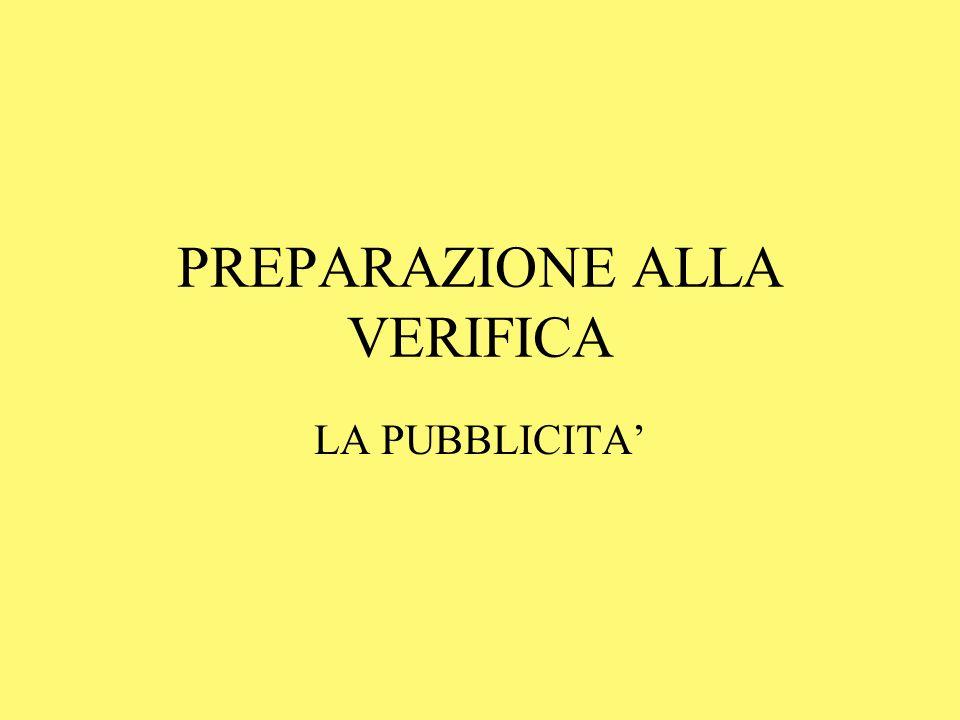 PREPARAZIONE ALLA VERIFICA LA PUBBLICITA