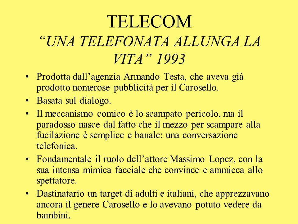 TELECOM UNA TELEFONATA ALLUNGA LA VITA 1993 Prodotta dallagenzia Armando Testa, che aveva già prodotto nomerose pubblicità per il Carosello. Basata su