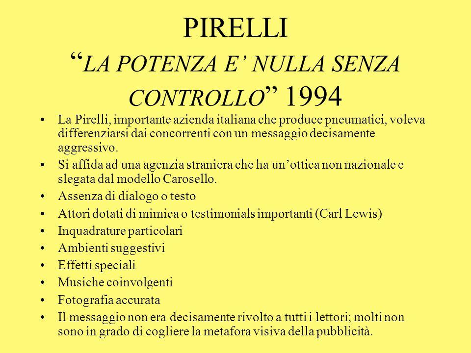 PIRELLI LA POTENZA E NULLA SENZA CONTROLLO 1994 La Pirelli, importante azienda italiana che produce pneumatici, voleva differenziarsi dai concorrenti