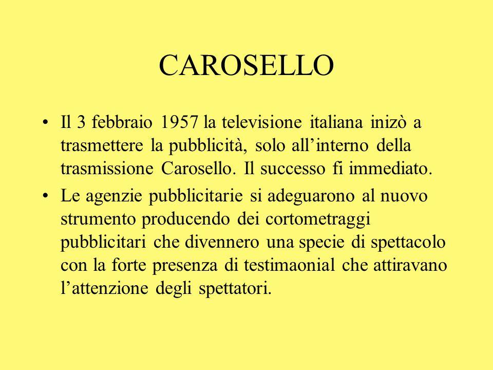 CAROSELLO Il 3 febbraio 1957 la televisione italiana inizò a trasmettere la pubblicità, solo allinterno della trasmissione Carosello. Il successo fi i