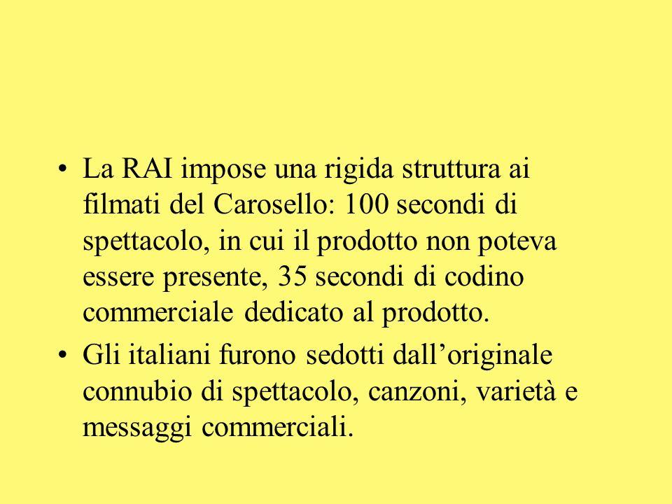 La RAI impose una rigida struttura ai filmati del Carosello: 100 secondi di spettacolo, in cui il prodotto non poteva essere presente, 35 secondi di c