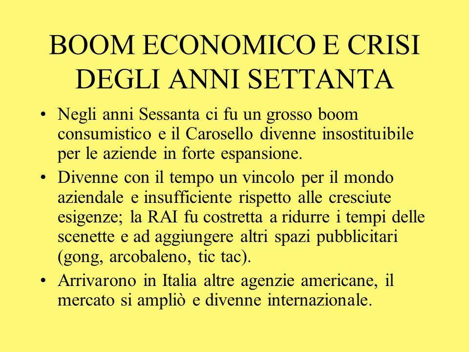 BOOM ECONOMICO E CRISI DEGLI ANNI SETTANTA Negli anni Sessanta ci fu un grosso boom consumistico e il Carosello divenne insostituibile per le aziende