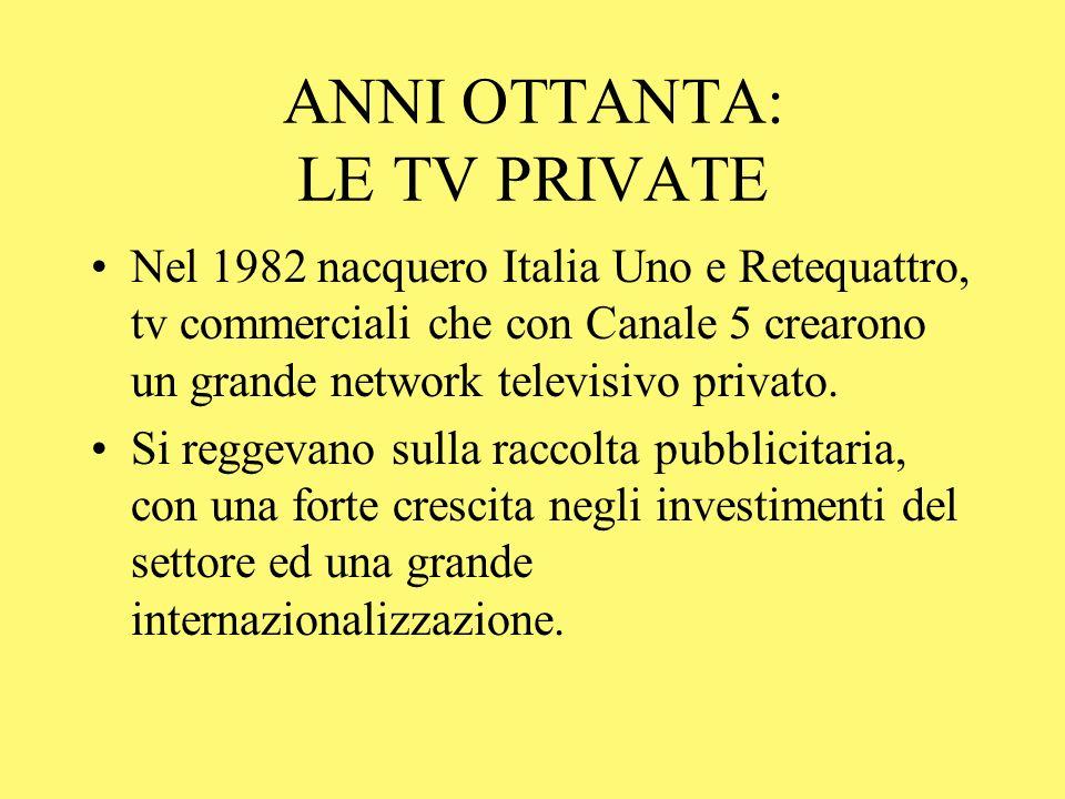 ANNI OTTANTA: LE TV PRIVATE Nel 1982 nacquero Italia Uno e Retequattro, tv commerciali che con Canale 5 crearono un grande network televisivo privato.