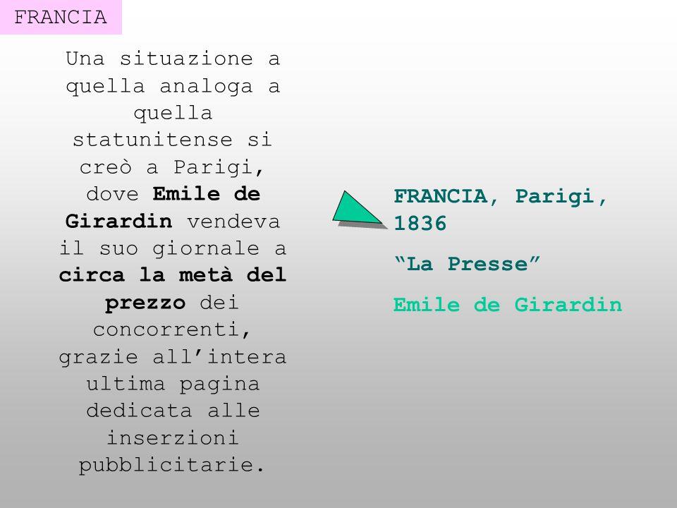 FRANCIA Una situazione a quella analoga a quella statunitense si creò a Parigi, dove Emile de Girardin vendeva il suo giornale a circa la metà del pre